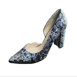 Nine West Silver Metallic and Black Fabric Heels 8